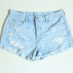 American Eagle Light Wash Denim Distressed Shorts